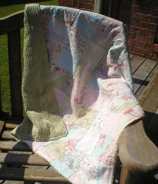 Baby blanket - sage and patchwork